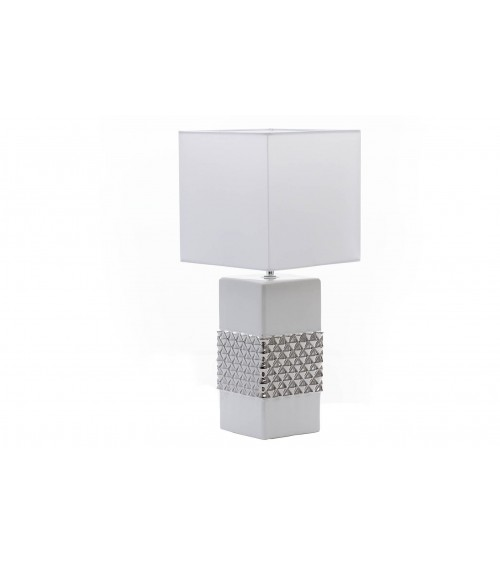 Lámpara Sobremesa Blanca/Plata