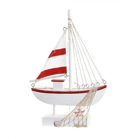 Figura Barco Rojo Madera / Led