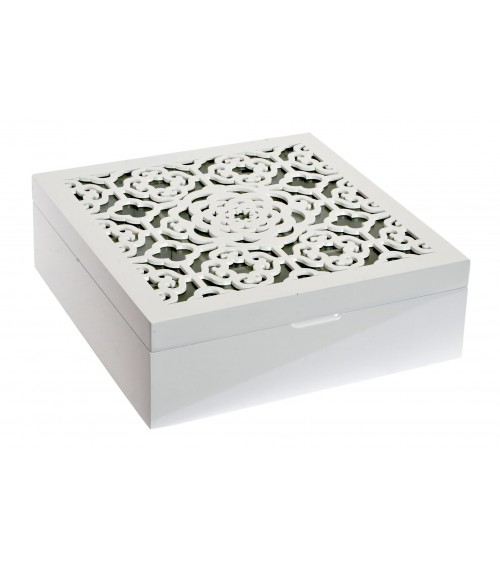 Caja Cuadrada Madera / Cristal Blanca