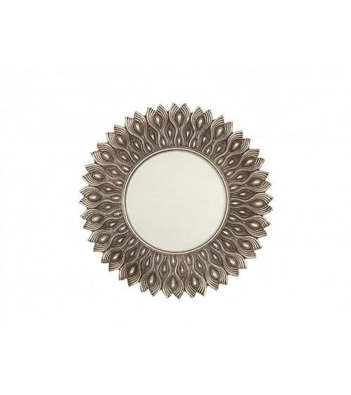 Espejo Redondo de Resina Plata