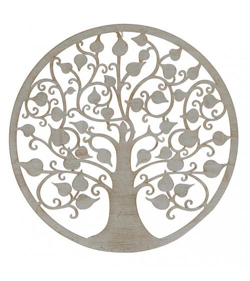 Árbol de la Vida Blanco con Patina Dorada