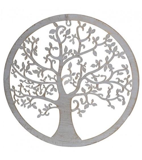 Árbol de la Vida Metal Blanco con Patina Dorada