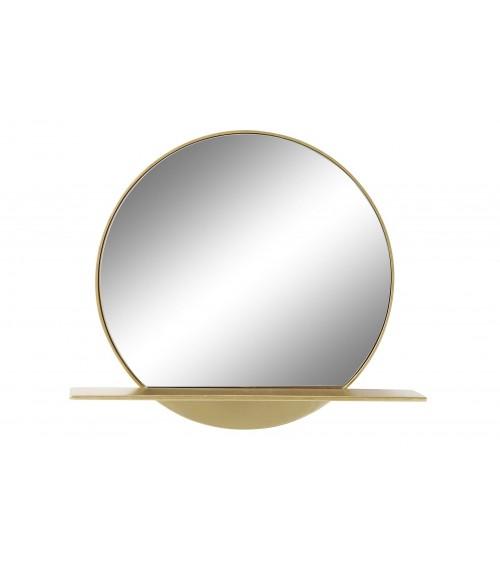 Espejo de Metal Dorado con Repisa