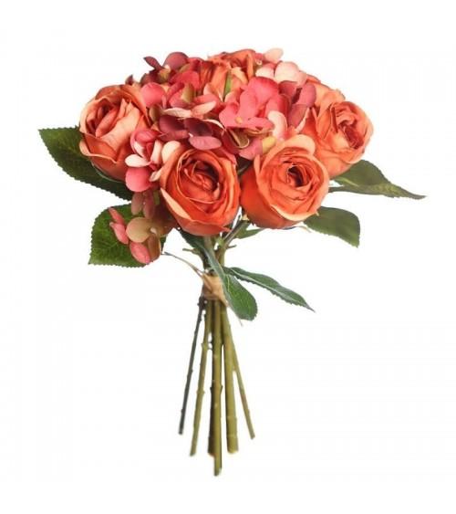 Atado de Rosas y Hortensias Artificiales