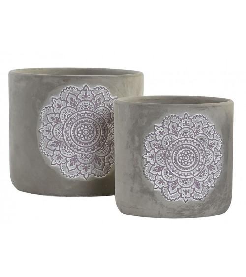 Set de 2 Macetas de Cemento Mandala Rosa