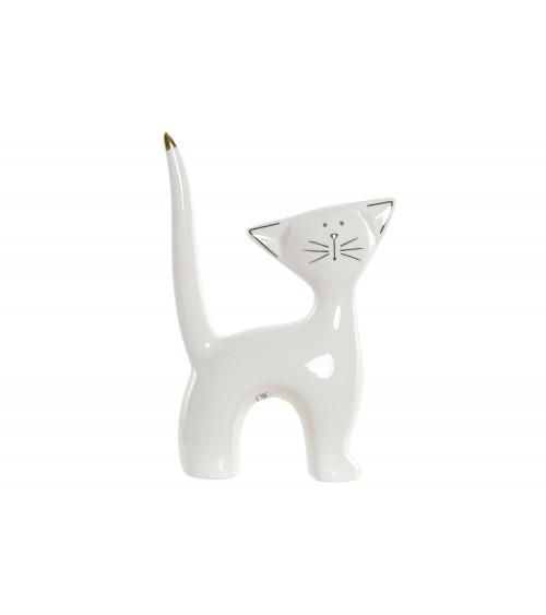 Gato Decorativo de Porcelana Blanca