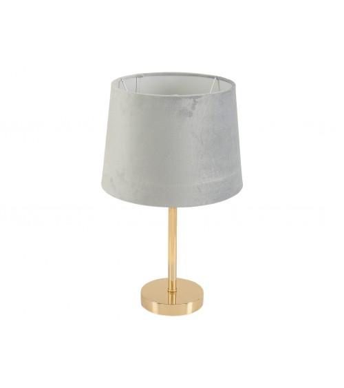 Lámpara Sobremesa Dorada C/Pantalla Gris