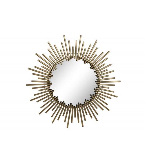 Espejo Tubos de Metal Dorado