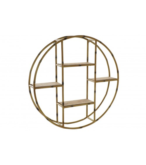 Estantería de Metal Redonda Efecto Bambú