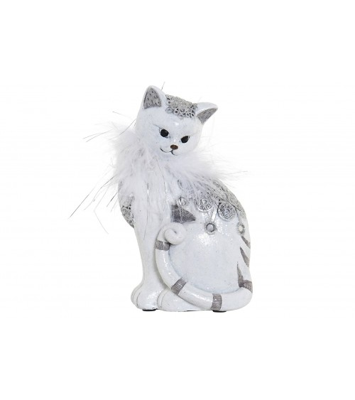 Gato Decorativo de Resina Blanco