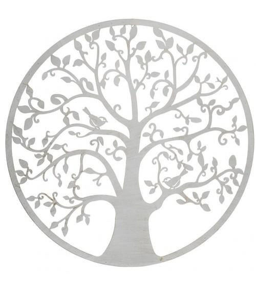Árbol de la Vida de Metal Blanco con Patina Dorada