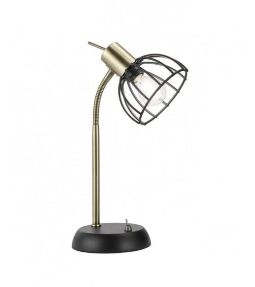 Lámpara de Sobremesa de Metal Negro y Dorado