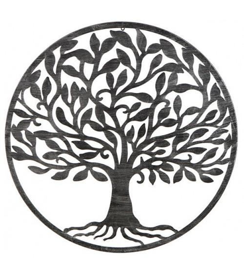 Árbol de la Vida Negro con Patina Plata